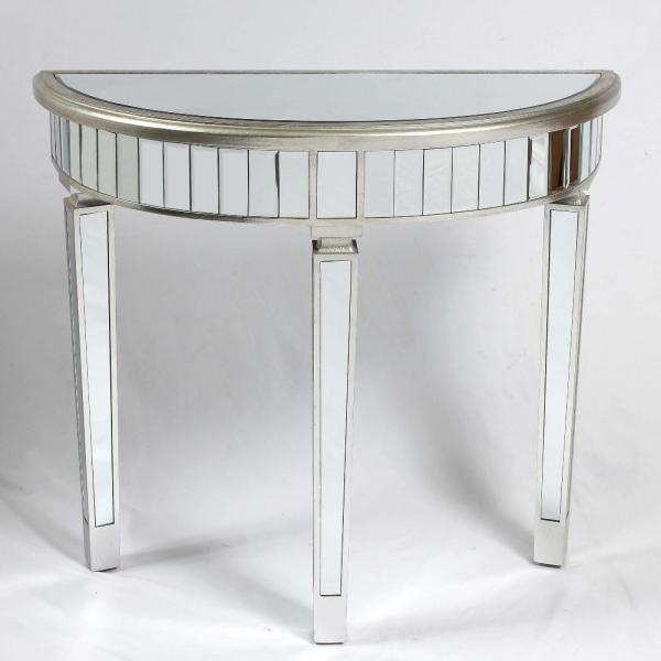 Genevieve Silver Half Moon Mirrored Table