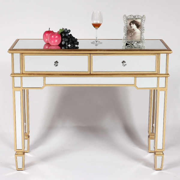 Genevieve Gold 2 Drawer Mirrored Console Table