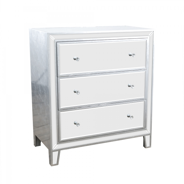Argenti Mirrored Chest of Drawers - Silver Leaf