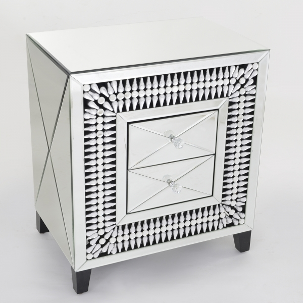 Apollo Crystal Mirrored Bedside Table