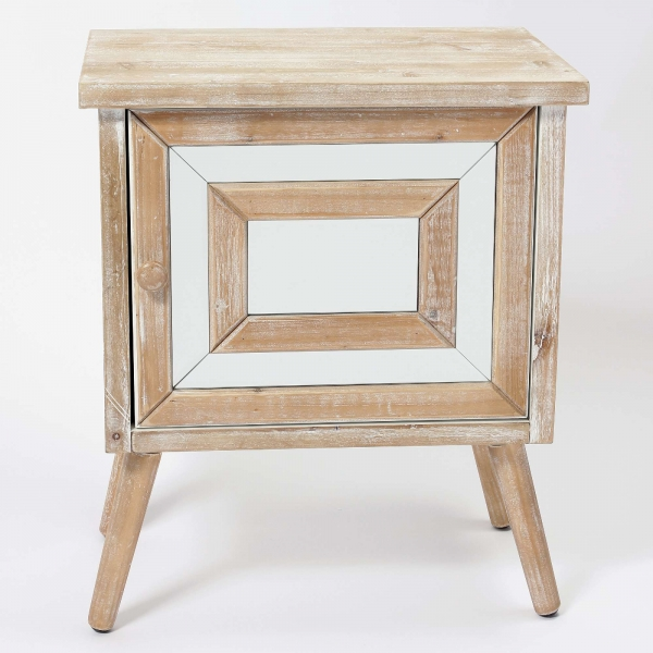 Wooden Square Mirrored Bedside Table