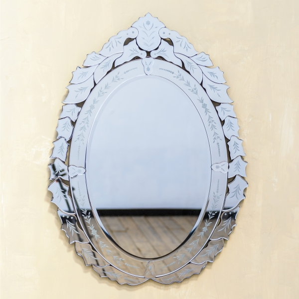 Venetian Contemporary Oval Mirror with Floral Pattern Bezels