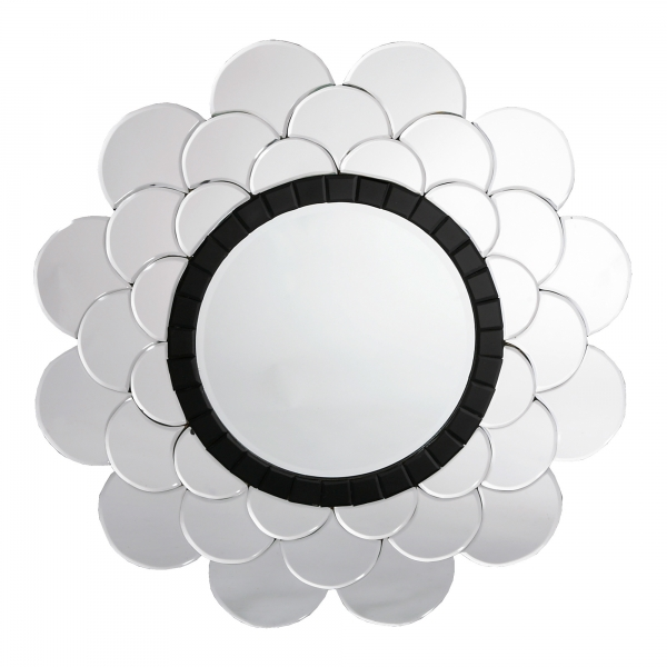Contemporary Venetian Petal Round Black & Clear Decorative Wall Mirror