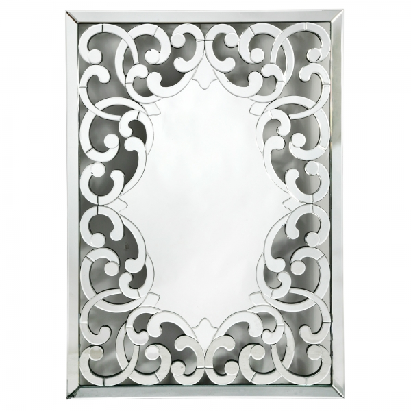 Contemporary Venetian Fretted Rocaille Decorative Multifaceted Wall Mirror