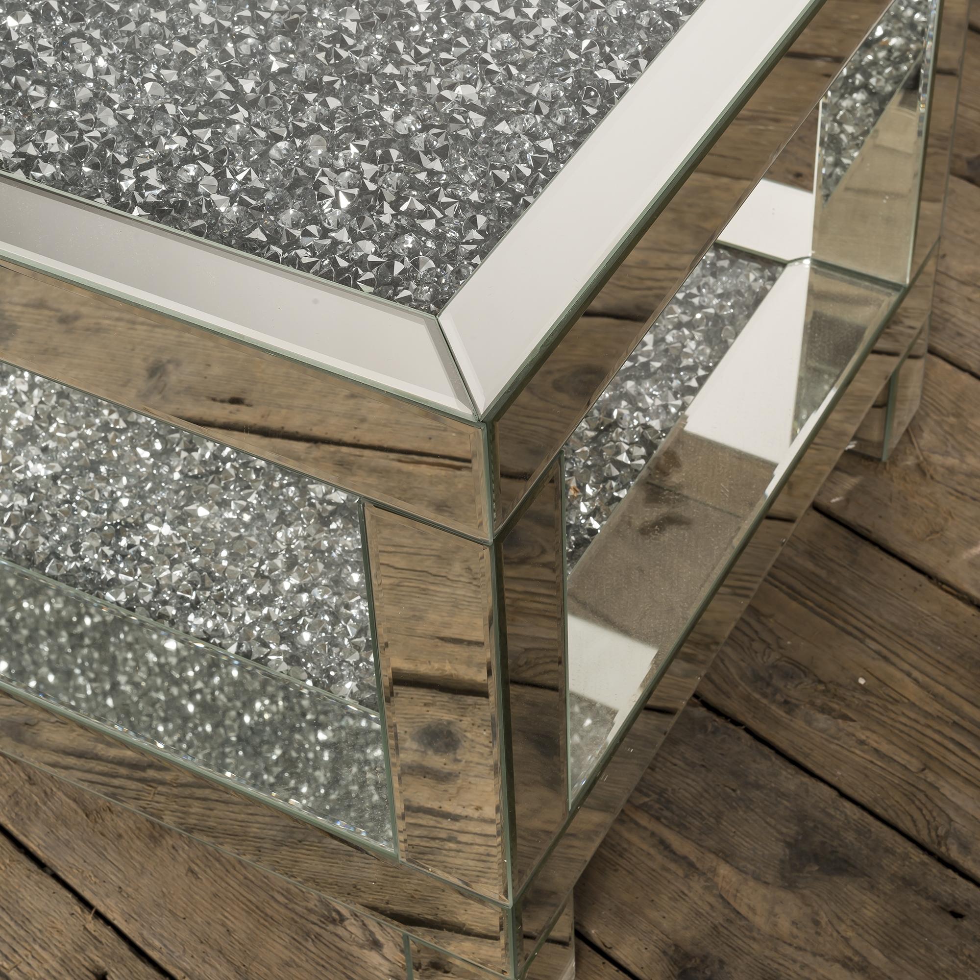 Crushed Diamond Mirrored Coffee Table