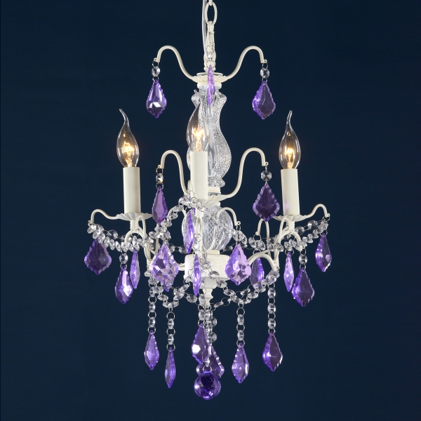 Charlotte 3 Light Chandelier - Cream Crack and Purple