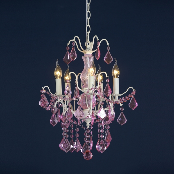 Charlotte 5 Light Chandelier - Cream Crack and Pink