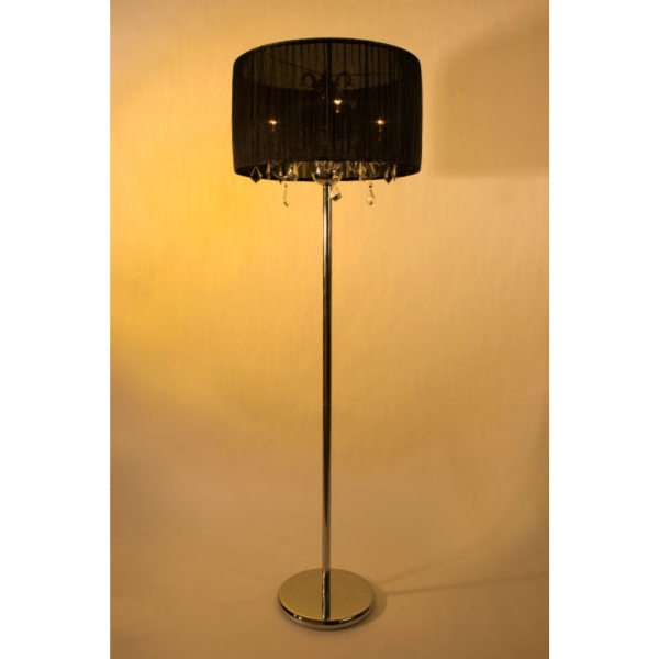 Chrome Floor 3 Light Lamp with Black Shade