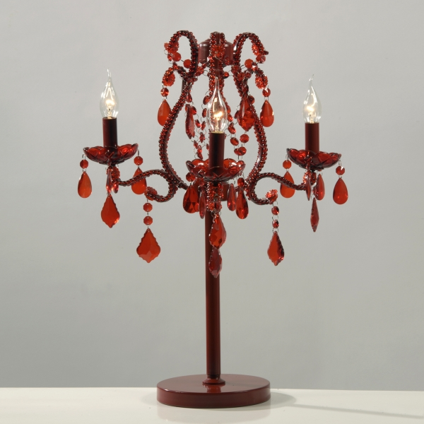 Marie Therese 3 Arm Candelabra - Red