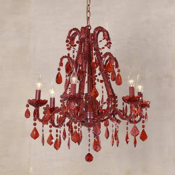Marie Therese 6 Light Chandelier - Red