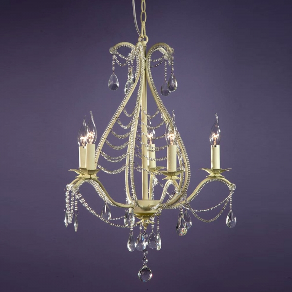 Crystal 5 Light Chandelier - Antique Cream and Clear