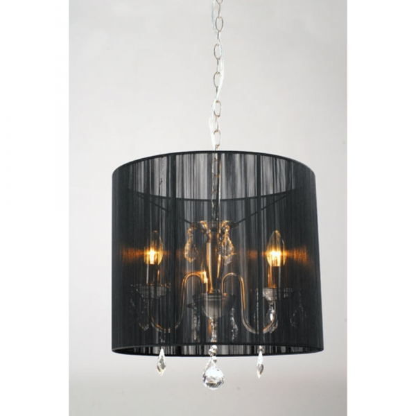 3 Light Chandelier - Chrome and Black