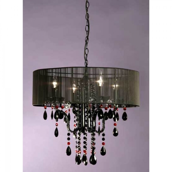 Vintage 4 Light Chandelier - Black & Red