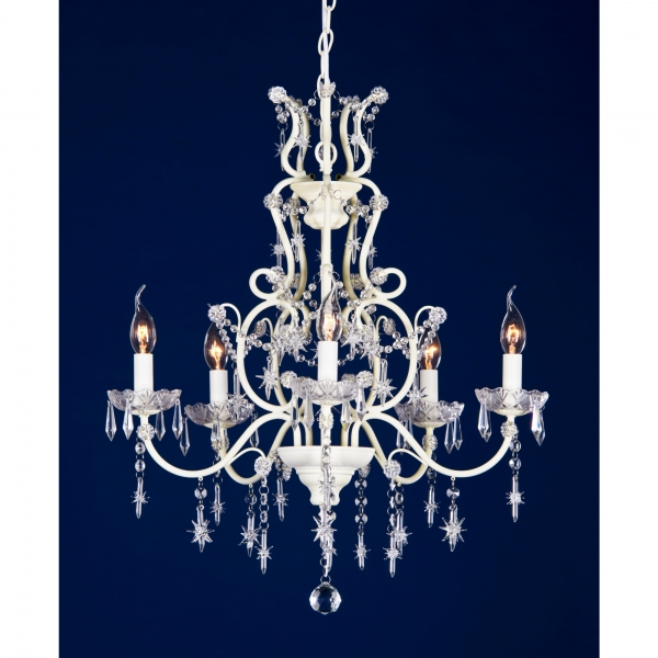 Star-Shaped Drops 5 Light Chandelier - Cream
