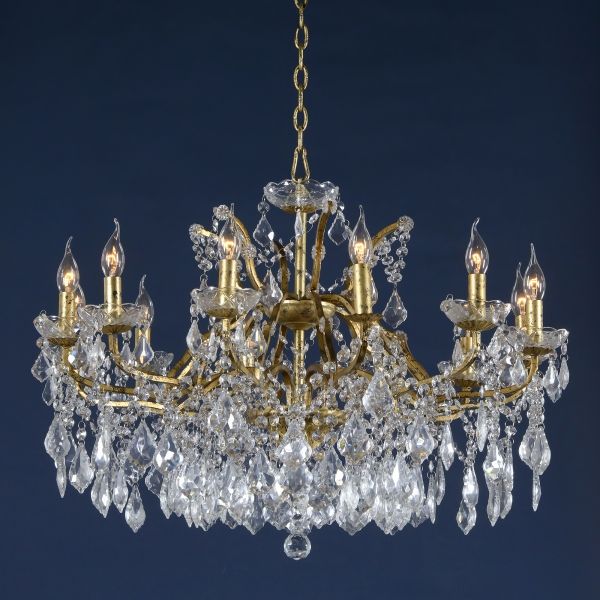 Vivianne Antique Gold & Clear Crystal Glass 12 Arm Large Chandelier Light