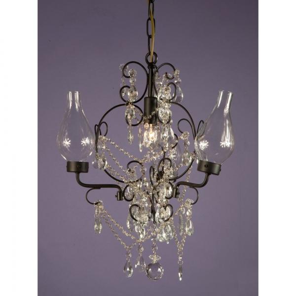 Vintage 3 Light Chandelier - Black and Clear