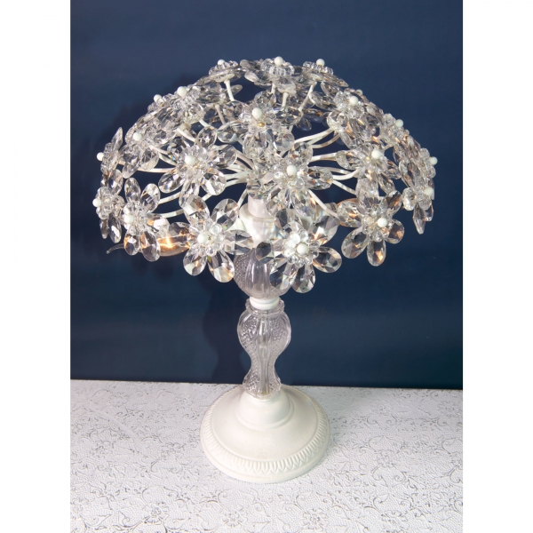 Flower Crystal Table Lamp - Cream Crack and Clear