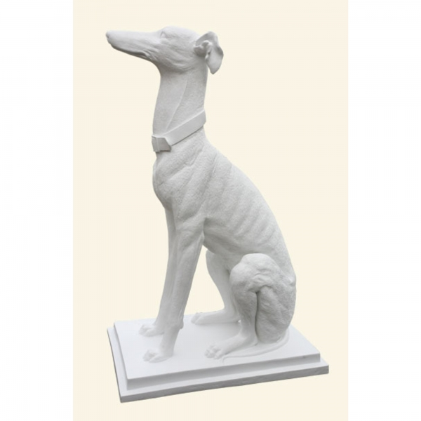 White Decorative Proud Pointer Dog Sitting Proud and Upright