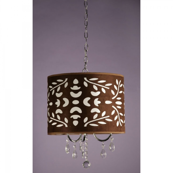 Filigree Shade Ceiling Light - Chrome and Brown