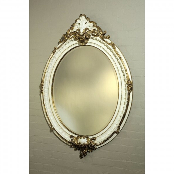 Gold Gilt Leaf & White Clay Paint Gilt Leaf Oval  Bevelled Mirror