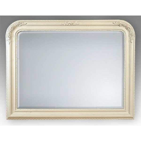 Louis Philippe White Clay Paint Overmantle Bevelled Mirror