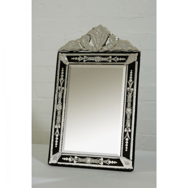 Venetian Clear & Black Etched Table or Wall Bedroom Hall Mirror