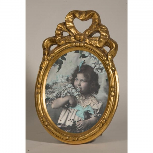 Gold Gilt Leaf Oval  Photo Frame Bows and Ribbons
