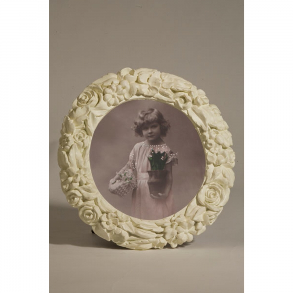 White Clay Paint Round Photo Frame