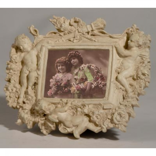 Cream Clay Paint Landscape  Photo Frame with cherubs