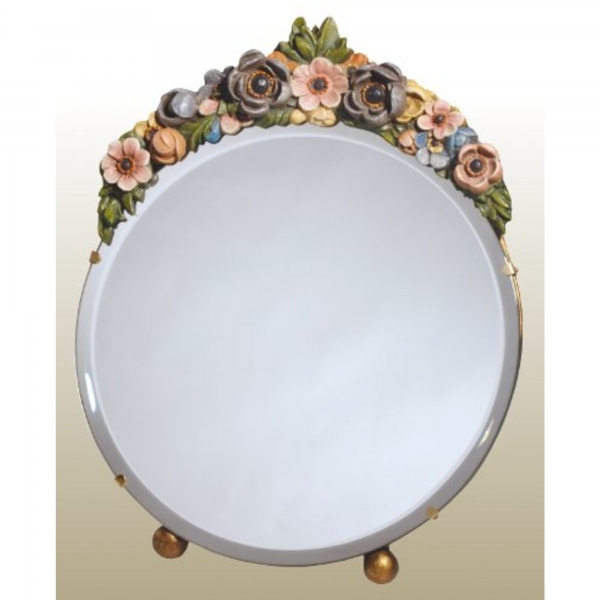 Barbola Floral Multicolour Round Bevelled Decorative Table or Wall Mirror