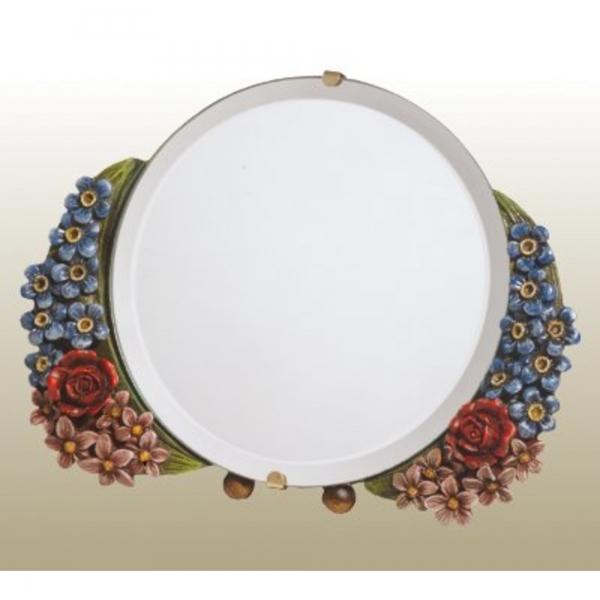 Barbola Floral Multicolour Round Decorative Table or Wall Bedroom Mirror