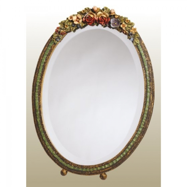Barbola Floral Multicolour Oval Decorative Table or Wall Bedroom Mirror