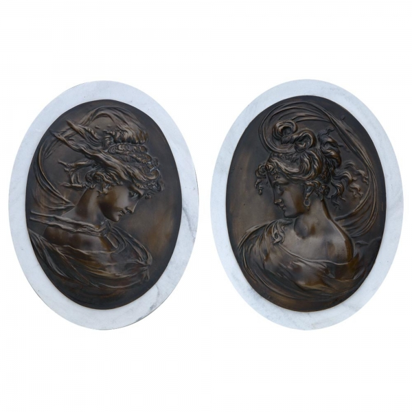 Marbaline & Bronze Classical Plaques - Ladies - pair