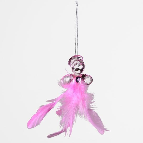 Decorative Accessories Angel Pink Acrylic with Feather