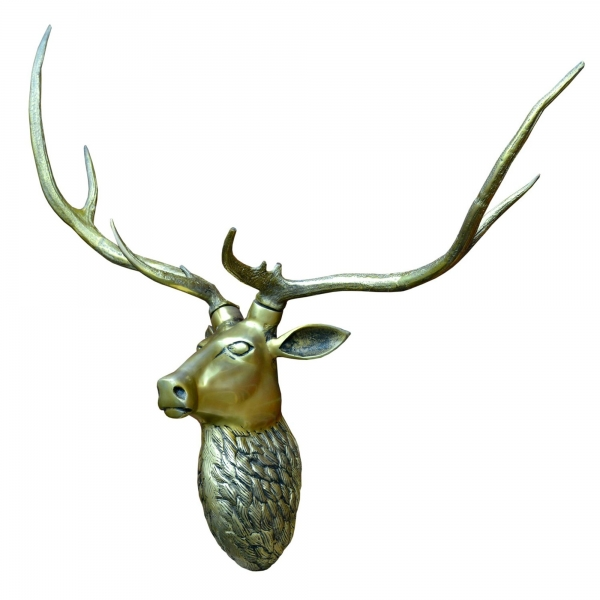 Antique Brass Large Stag Wall Head with Large Antlers Trophy Head