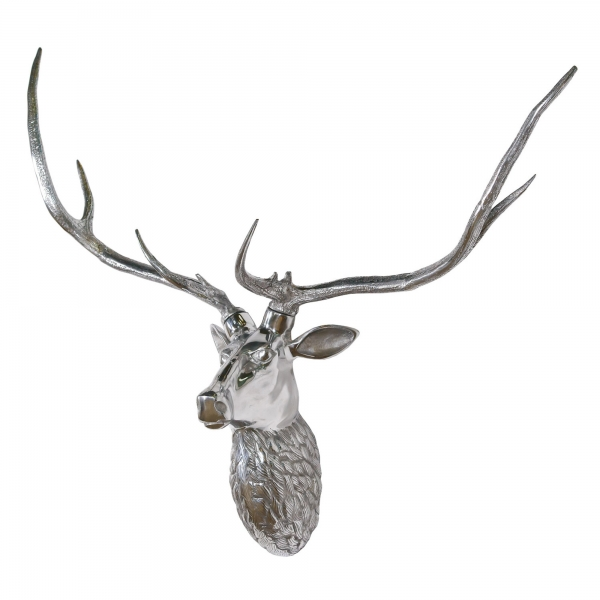 Aluminium Silver Large Stag Wall Head with Large Antlers Trophy Head