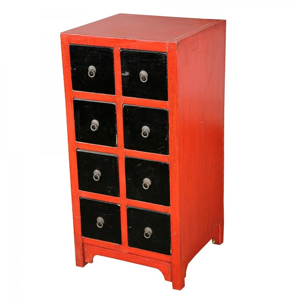 Lou Lan Chest of Drawers - Red and Black