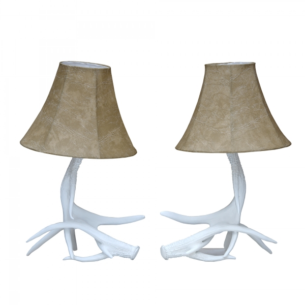 Antler Pair of Table Lamps - White