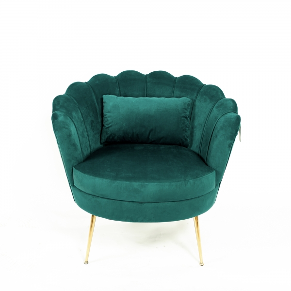Emerald Blue Velvet Cocktail Chair With Gold Legs