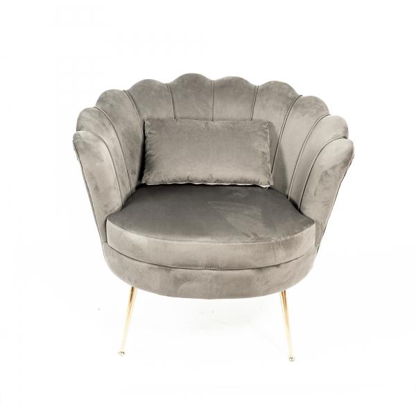 Dark Grey Velvet Cocktail Chair With Gold Legs