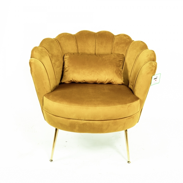 Gold Velvet Cocktail Chair With Gold Legs