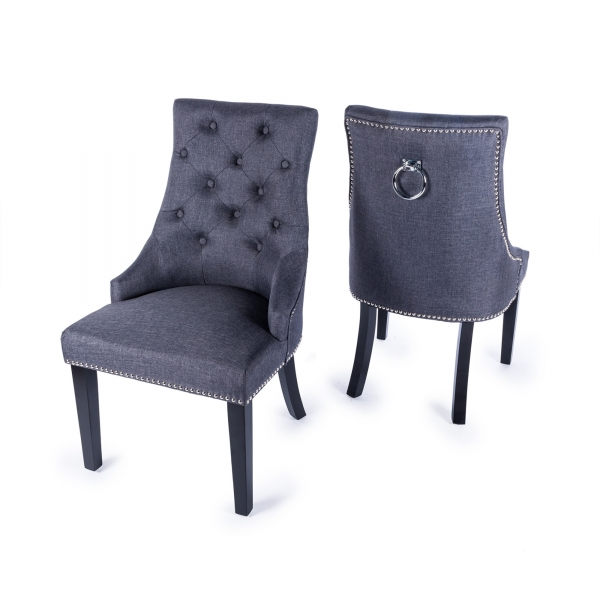 Linen Dining Chair with Knocker - Grey
