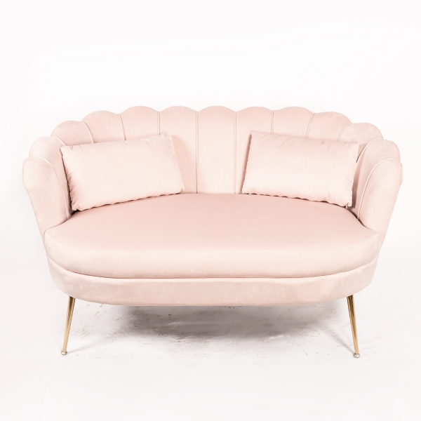Blush Pink Velvet Sofa With Gold Legs