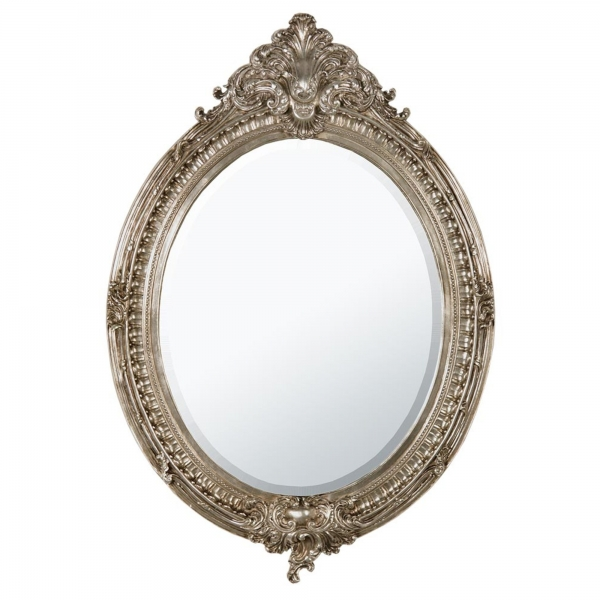 Silver Oval Bevelled Mirror