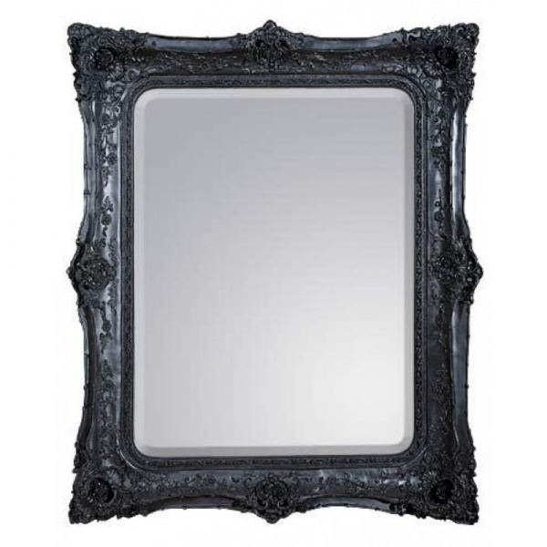Rosetti Baroque Black Clay Paint Bevelled Mirror