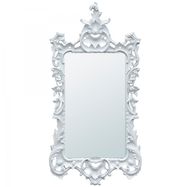 White Chalk Paint Chippendale Style Bevelled Decorative Wall Mirror