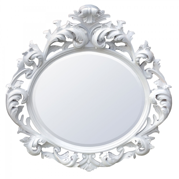 Baroque Gloss White Oval Bevelled Mirror