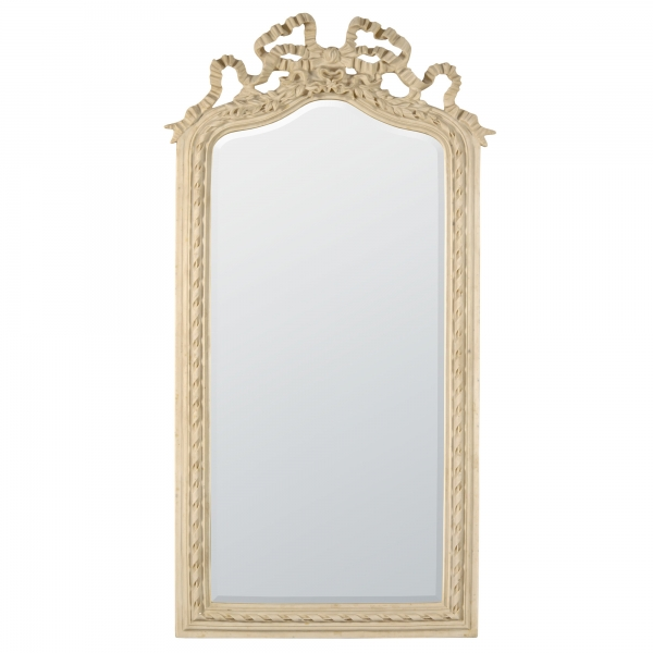 Antique White Rocaille Ribbon Crested Decorative Wall Bedroom Hall Mirror