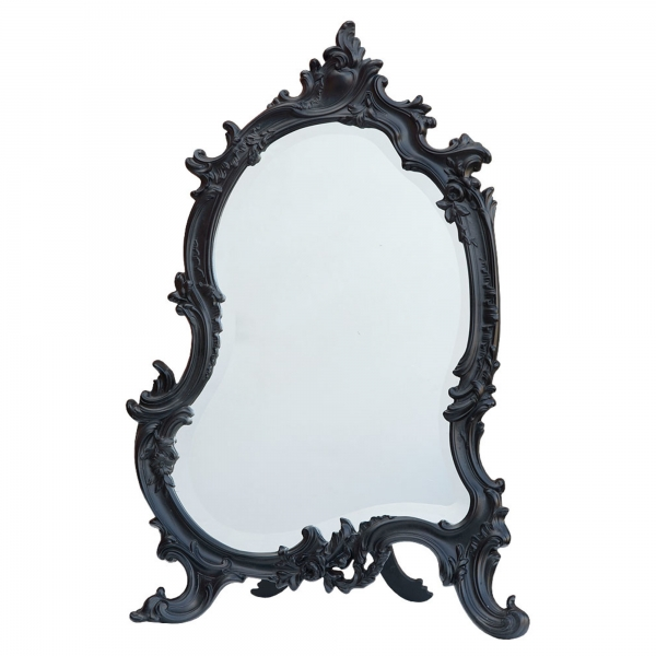 Antique Style Rococo Black Chalk Paint Bevelled Table or Wall Mirror