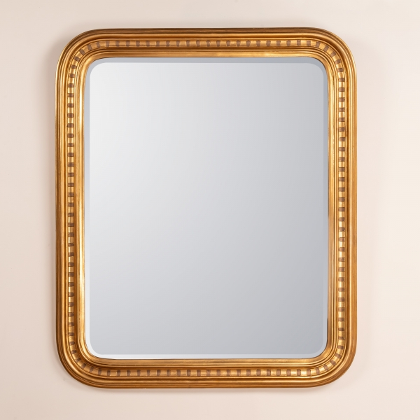 Louis Philippe Etched Mirror - Gold Gilt Leaf
